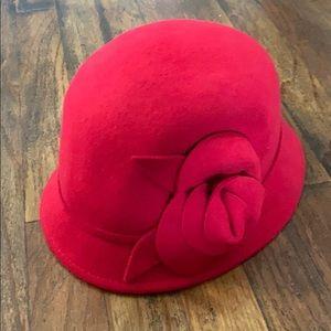 Nine West Red Wool Flower Cloche Hat